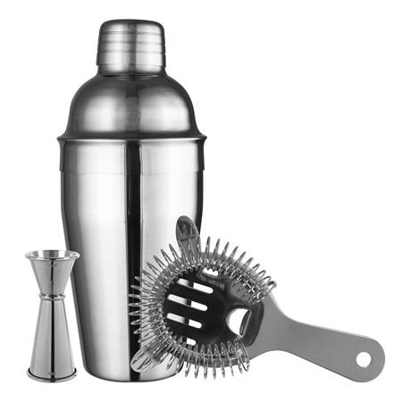 Avanti Essentials Cocktail Set - Comprises 550ml Cocktail Shaker - Strainer - 15/30ml Jigger