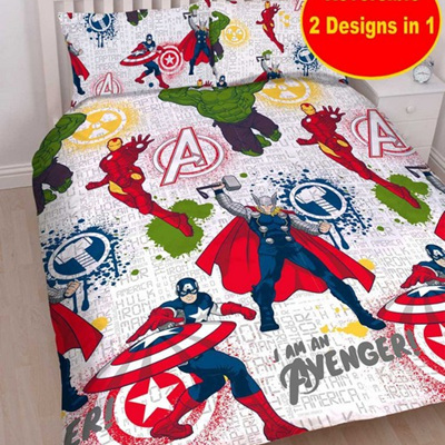Avengers Mission Reversible Uk Double Duvet Cover Set