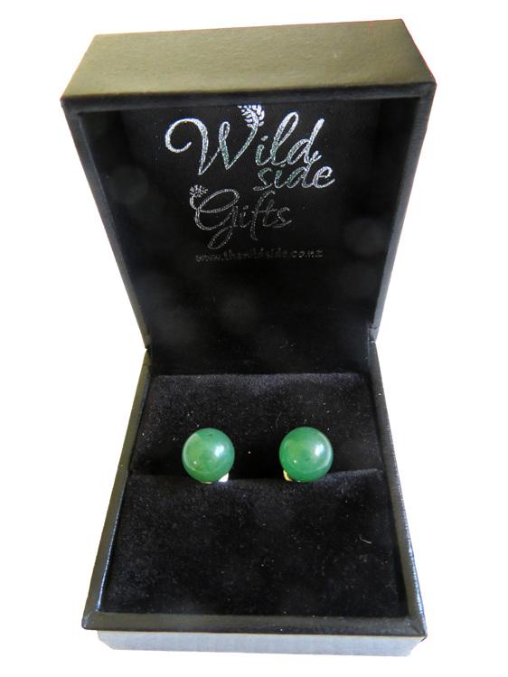 Aventurine stud earrings in jewellery box