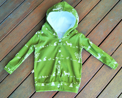 'Avery' Hooded Cardigan. 'Forest Friends' GOTS Organic Cotton, 1 year