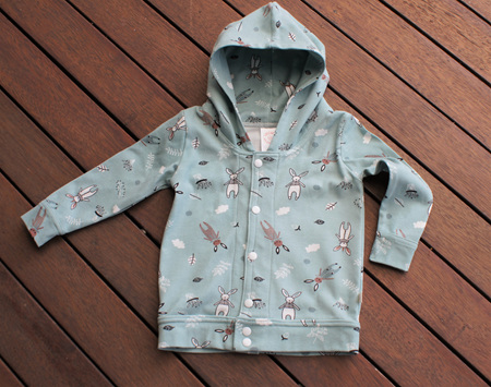 'Avery' Hooded Cardigan, 'Cosy Bunnies' 100% Cotton Knit, 6-12 months
