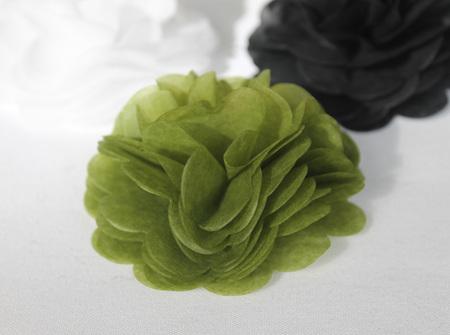 Avocado green tissue flowers