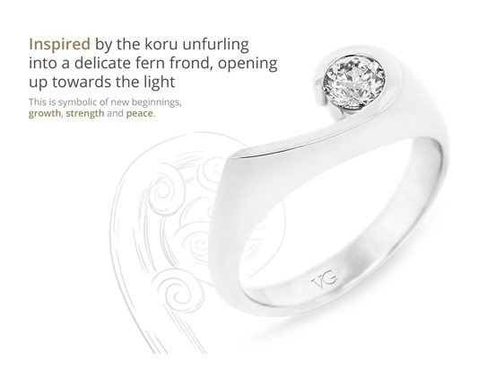 award winning patai diamond ring design koru inspired