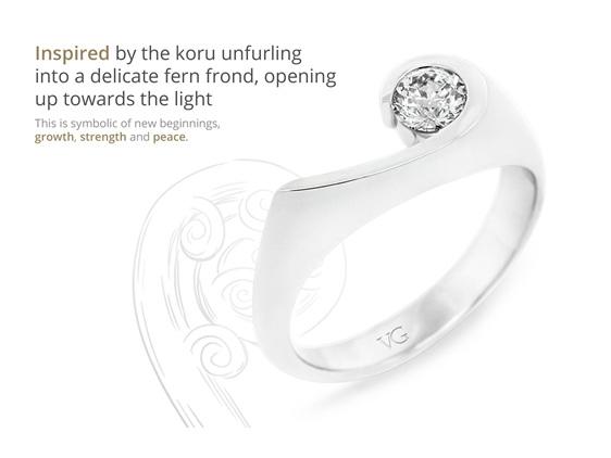 award winning patai diamond ring design koru inspired