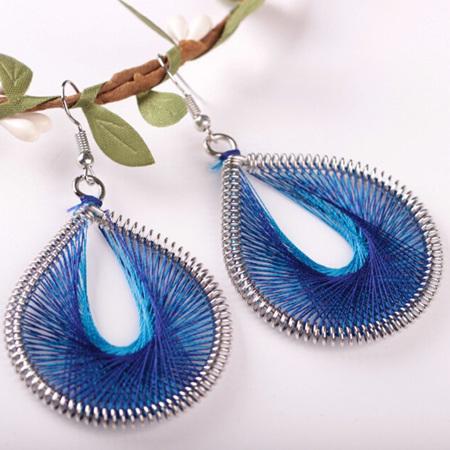 AWESOME BLUE WEAVE EARRINGS