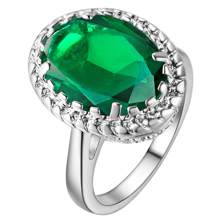 Awesome Waterdrop Emerald & Silver Ring Size US7