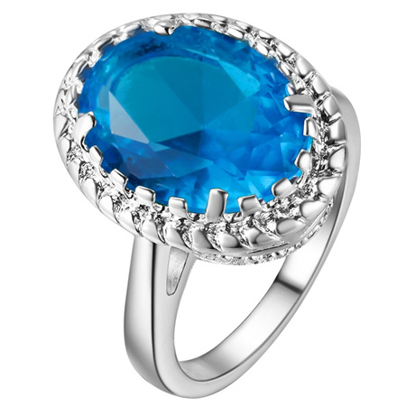 Awesome Waterdrop Light Blue & Silver Ring Size US6