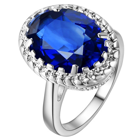 Awesome Waterdrop Sapphire Blue & Silver Ring Size US8