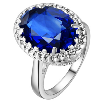 Awesome Waterdrop Sapphire Blue & Silver Ring Size US9