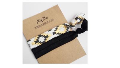 Aztec Print in White Hair Tie and Black Hair Tie