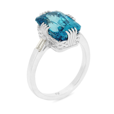 Azure Blue Zircon Ring
