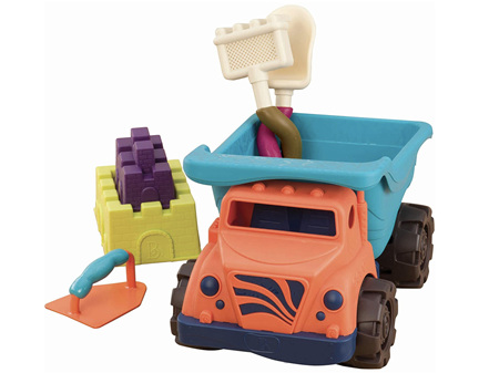 B. Toys Coast Cruiser Dump Truck with Accessories 5 Funky Sand Toys