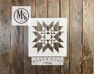 B008 Baker Nest Nordic Star Barn Quilt Stencil