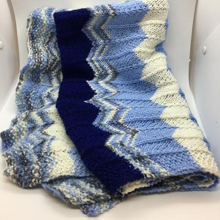 Baby Blanket 100% Merino Wool - Blues