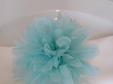 Baby blue flower pom pom