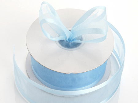 Baby blue organza with satin edge