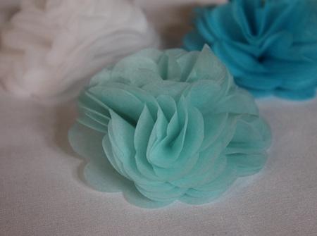 Baby blue tissue flower