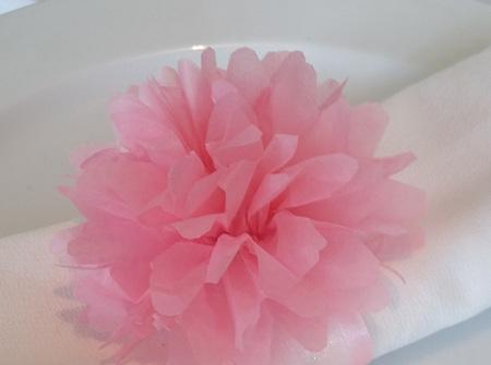 Baby pink flower pom pom