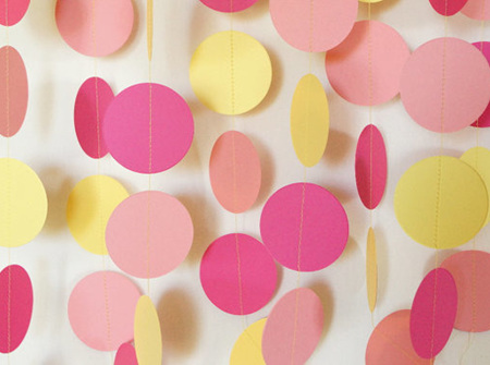 Baby pink, pink and pale yellow paper circle garland - 3m