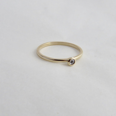 Baby Solitaire Ring - 9k Yellow Gold and Salt and Pepper Diamond