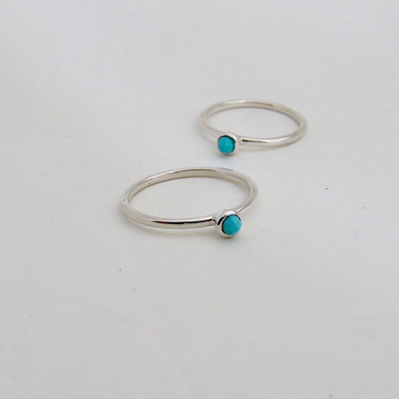 Baby Solitaire Ring - Turquoise