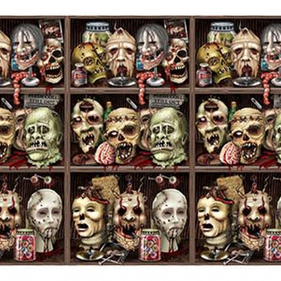 Backdrop - scary zombie heads - 9m!