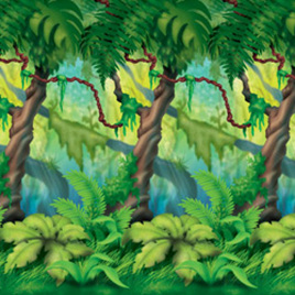 Backdrop wall jungle trees scene