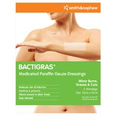 BACTIGRAS MEDICATED PARAFFIN GAUZE DRESSING 10X10CM 3 PACK