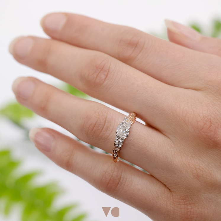 Baile three-stone diamond engagement ring from The Village Goldsmith