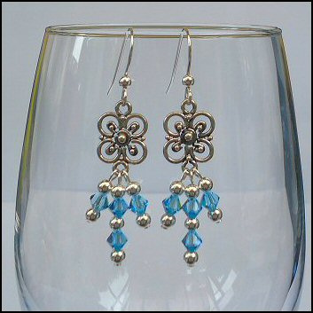 Bali Flower and Crystal Earrings