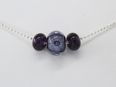 Ball chain bead necklace - Blue ink double bubble flower bead