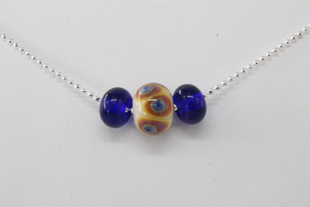 Ball chain bead necklace - funky dots blue/purple on opal yellow