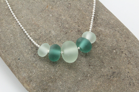 "Ball chain bead necklace - Teal/Clear ""Sea glass"""