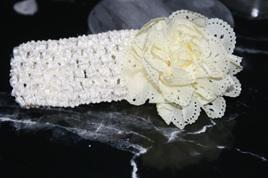 Ballerina Chiffon Crochet Headband - CREAM