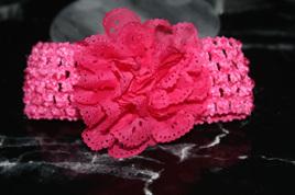 Ballerina Chiffon Crochet Headband - HOT PINK