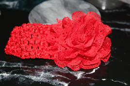 Ballerina Chiffon Crochet Headband - RED