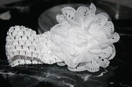 Ballerina Chiffon Crochet Headband - WHITE