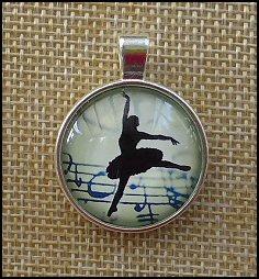 Ballerina Glass Dome Key Ring