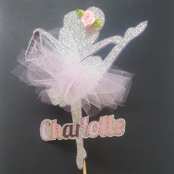Ballerina Glitter Card Cake Topper child girl birthday