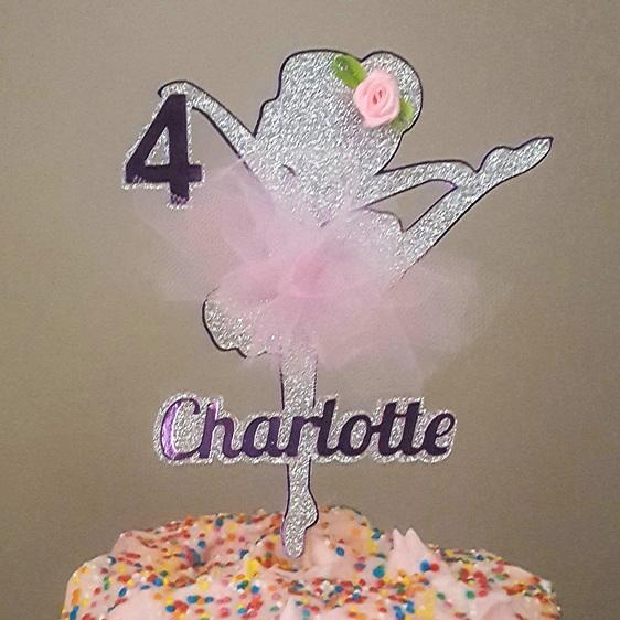 Ballerina Glitter Card Cake Topper child girl birthday personalised custom