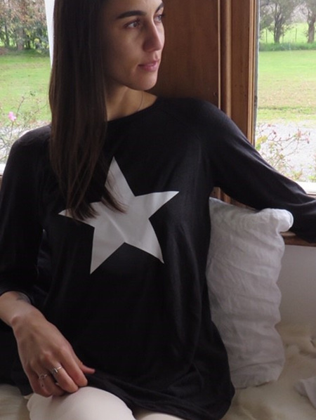 Bamboo and Linen Tee - Black with White Star