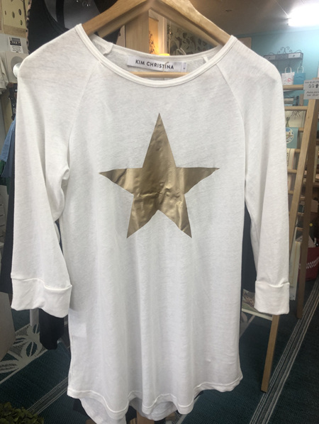 Bamboo and Linen Tee - Cream with Gold Star