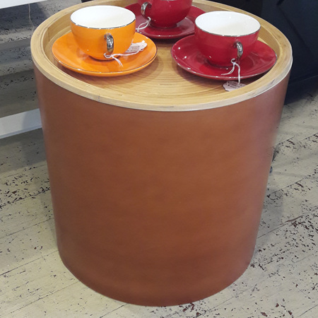 Bamboo Round Side Table - $325