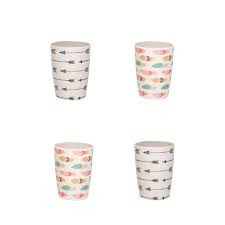 Bamboo Tumblers 4 PK Arrows & Feathers
