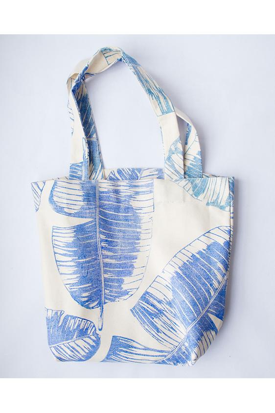 banana leaf, block printed, handmade, tote bag, cotton, blue