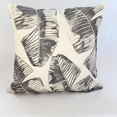 Banana Leaf Cushion in Black