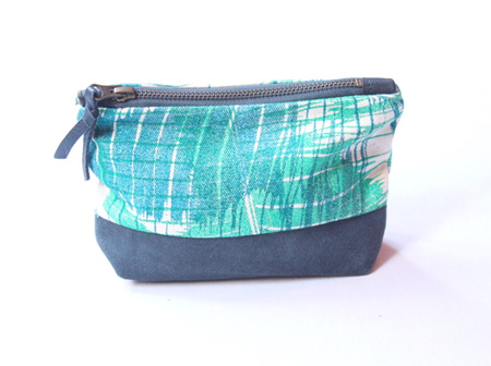Banana Leaf Overlay Pouch with Leather Detail