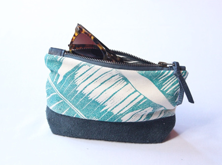 Banana Leaf Pouch with Leather Detail