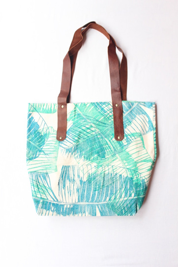 Banana Leaf Tote with Leather Handles