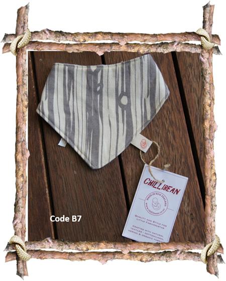 Bandana Bib, 'Bear Bois', GOTS Organic Cotton, 0-3 mths, (Code B7)